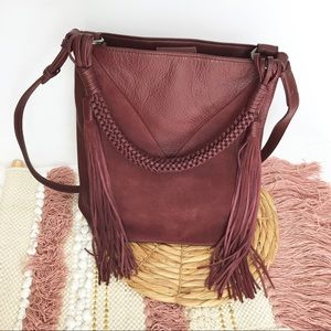 Sam Edelman Monica Leather Boho Fringe Bucket Bag